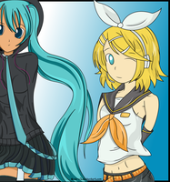 Miku And Rin (Combined) by Noah-x3