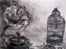 Phonograph and Birdcage Still Life by decomposerdoll