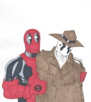 Rorschach and Deadpool by RobertMacQuarrie1