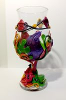 Mad Hatter Tea Party Polymer Clay Wine Glass by KellyArceDesigns