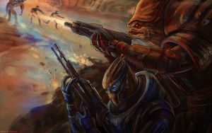 Garrus and Wrex by darefi