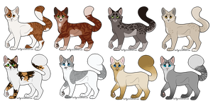 warrior cat adoptables batch 3 by lightwoodswhip