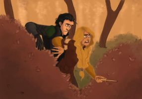 Loki and Sigyn Adventuring by LessienMoonstar
