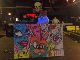 Live graffiti piece in club 28 by vinnikiniki