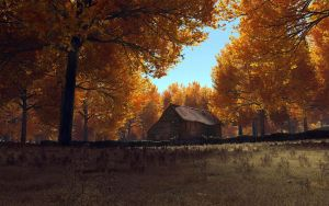 Old Barn in Autumn by Buzzzzz
