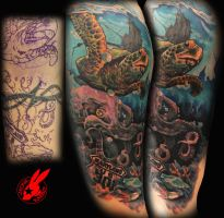 Sea Turtle Cover Up Sleeve Tattoo by Jackie Rabbit by jackierabbit12