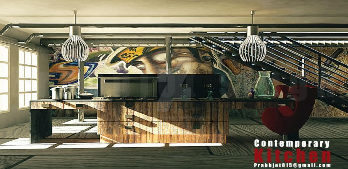 Contemporary Kitchen. by Prabhjotsingh333
