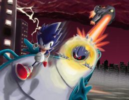 Sonic vs. Metal Sonic by RurouniZel