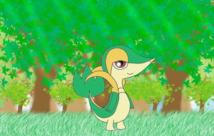 snivy in the forest by efilvega
