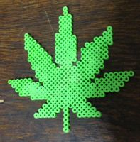 Weed Leaf Perler Bead Chain/Art by iRetroChainz