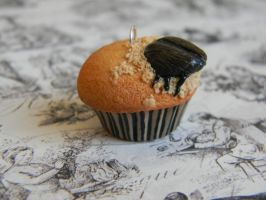 Roach In A Cupcake - Polymer Clay - Halloween by ThePetiteShop