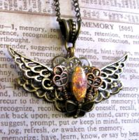 Steampunk Necklace wings glass opal by GraceCM