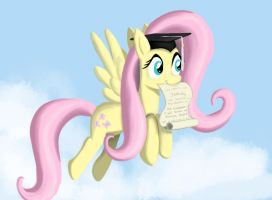 Fluttershy Graduates from Flight School by WerdKcub