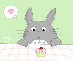 Totoro with Cupcake by Twinky-Dink