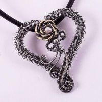 Lola 1 Silver Heart Slide Pendant by Wiresculptress