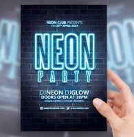 Neon Party Flyer Template by sorengfx