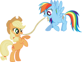 Rainbow Dash and Applejack Tug of War by TrueCelticHeart