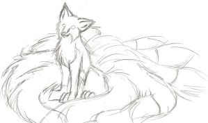 Unfinished Kitsune Sketch- Old by TheNimirra
