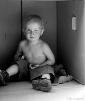 Eatting Cookies in the Box  BW by Paigesmum