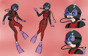 Courtney Scuba Concept Sheet - Color Commission by The-Sakura-Samurai