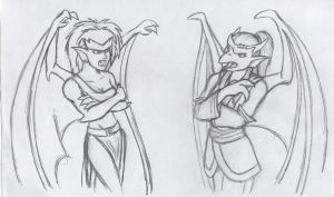 Sketchy Demona and Katana by Whimsy-Floof