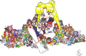 Usagi and her Plushies by BlackMageChan