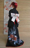 BJD Kimono, The Elegance of Black Peonies by InarisansCrafts