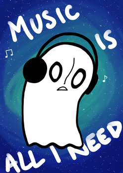 Napstablook - music is all I need by Blackrystall