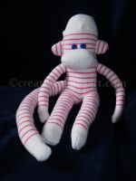 Pink + White Mini Sock Monkey by bicyclegasoline