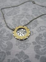 Brass and Silver Gear necklace by tanyadavisart
