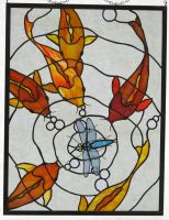 UntitledStained Glass Koi Panel with Dragonfly by trilobiteglassworks