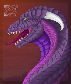 Dragon Bust Painting - Violet by Inemiset