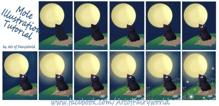 Mole Illustration Tutorial - Step by Step by FairyWorld84