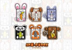 Ani-Block Bookmark Set -NEW- by meiji1990