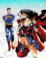 Superman and Wonder Woman by stinson627