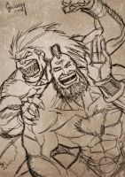 Blanka and Zanguief by Matelandia