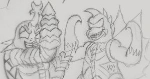 Gigan and Megalon by SuperGon-64