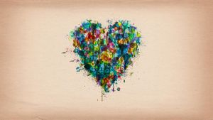 Watercolour Heart Splatter Background by YingDude