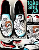 Rage Comic Shoes - Red and Blue by artsyfartsyness
