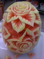 watermelon rose carving 3 by djsarge1129
