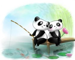 Fishing Pandas by Sabinerich