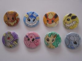 Eeveelutions Badges by Sweet-Fizz