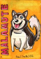ACEO Dog 4: Malamute by ronnieraccoon