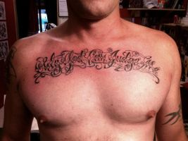 Only go can judge me tattoo script by CalebSlabzzzGraham