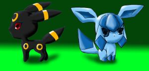Chibi Umbreon and Glaceon by ZeroMidnight