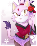 a cat in a kimono by Ritelly