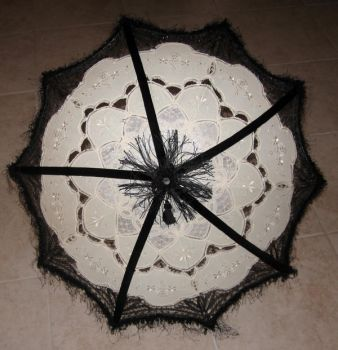 Ivory and Black Lace Parasol by waywarddreams