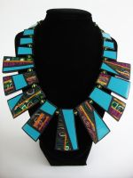 Blue Patchwork Ray Necklace by Laurenry