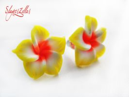 Yellow polymer clay flowers post earrings by Benia1991