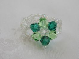 Green bicone flower ring 411d by Quested-Creations